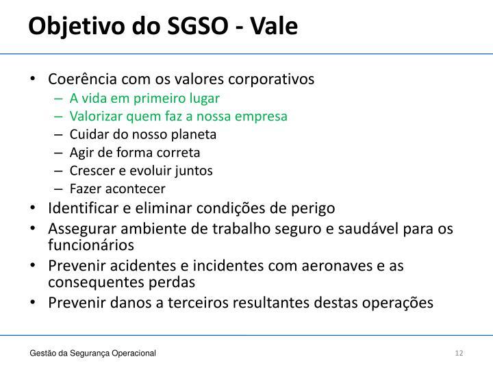 Objetivo do SGSO - Vale