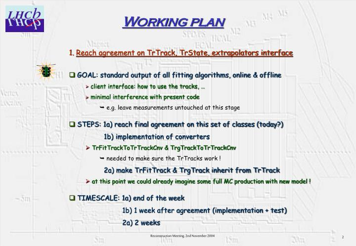 Working plan