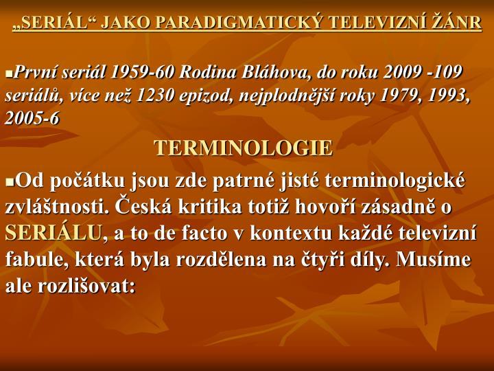 SERIL JAKO PARADIGMATICK TELEVIZN NR