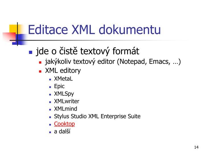 Editace XML dokumentu
