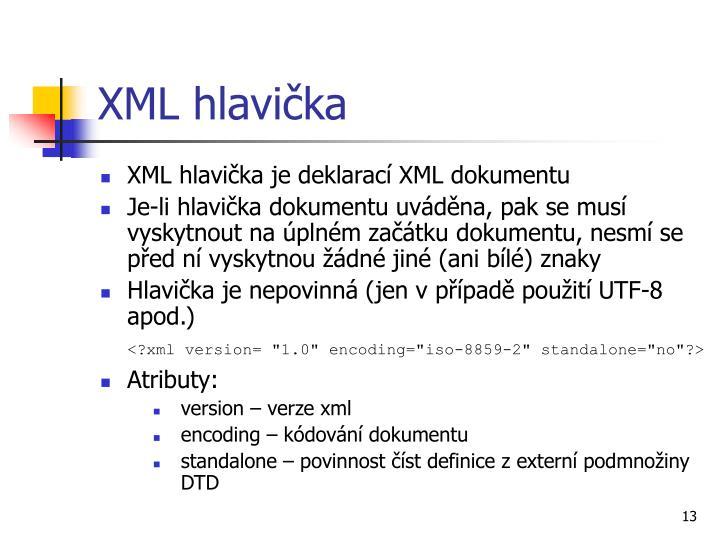 XML hlavička