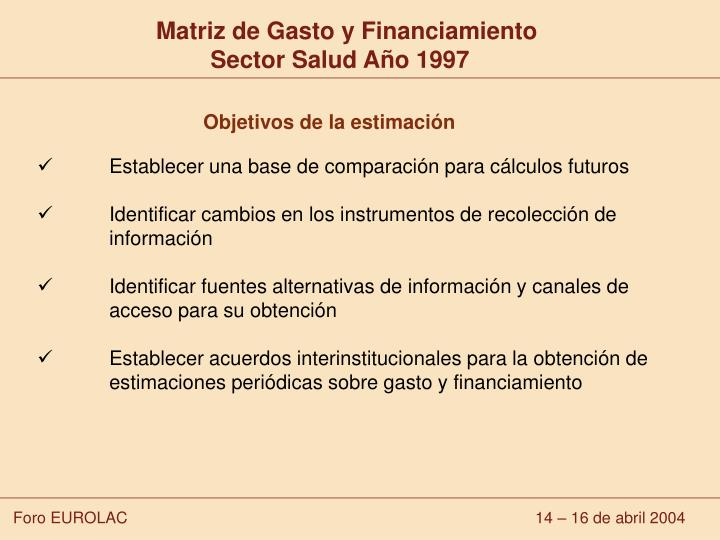 Matriz de Gasto y Financiamiento