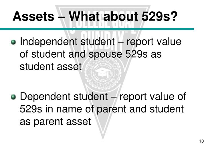 Independent student – report value of student and spouse 529s as student asset