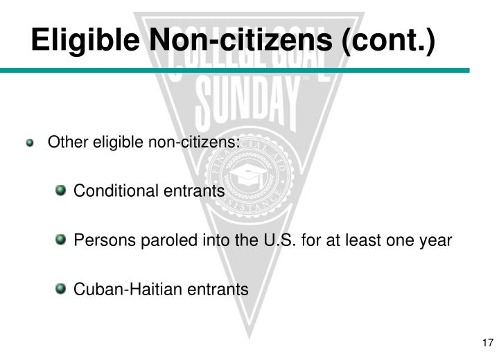 Other eligible non-citizens: