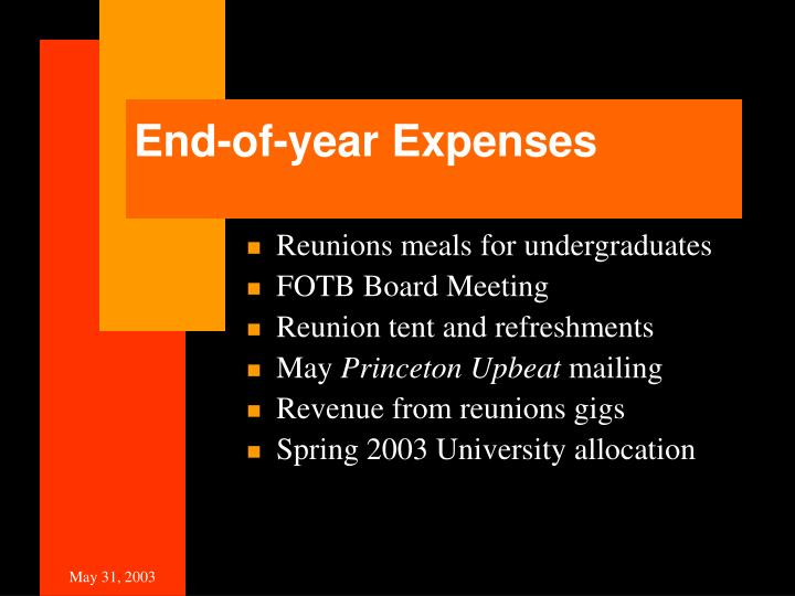 End-of-year Expenses