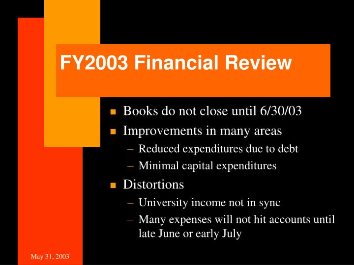 FY2003 Financial Review