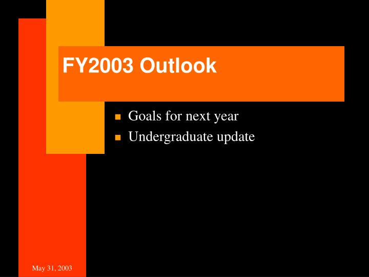 FY2003 Outlook