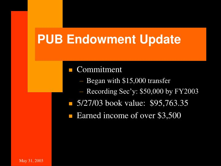 PUB Endowment Update