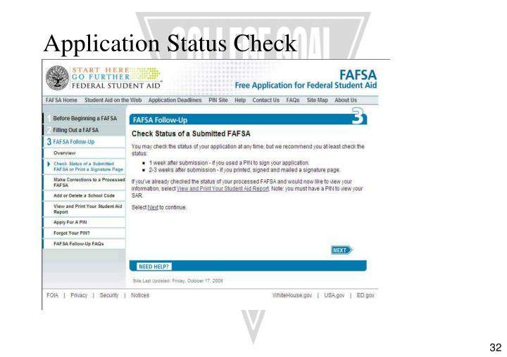Application Status Check