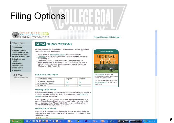 Filing Options
