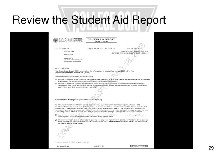 Review the Student Aid Report