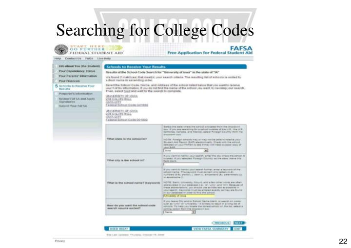 Searching for College Codes