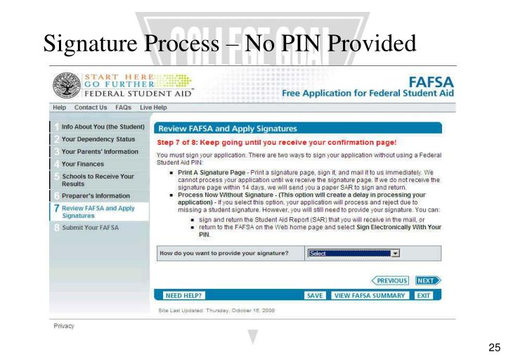 Signature Process – No PIN Provided