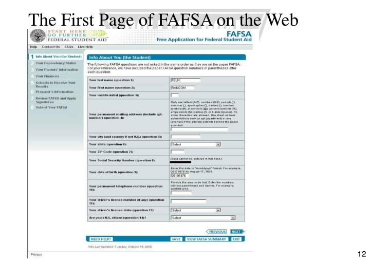 The First Page of FAFSA on the Web