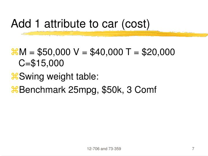 Add 1 attribute to car (cost)