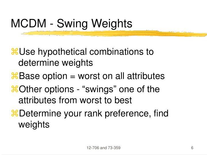 MCDM - Swing Weights