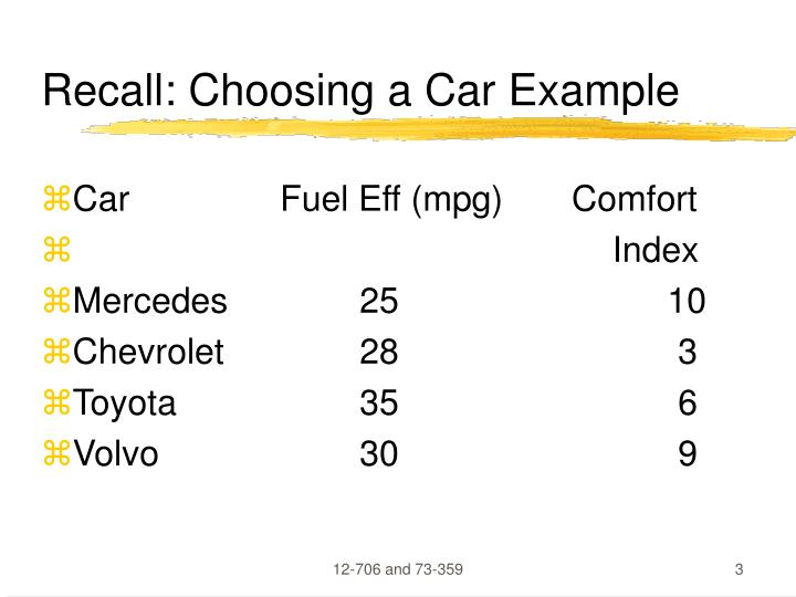Recall choosing a car example