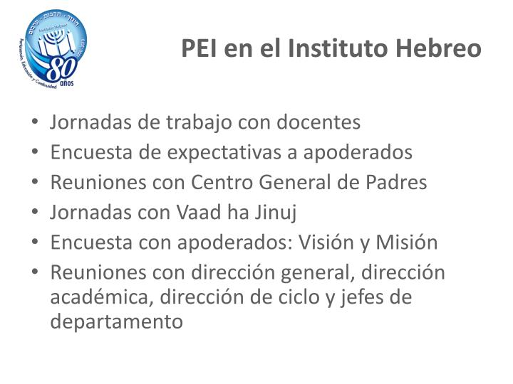 PEI en el Instituto Hebreo