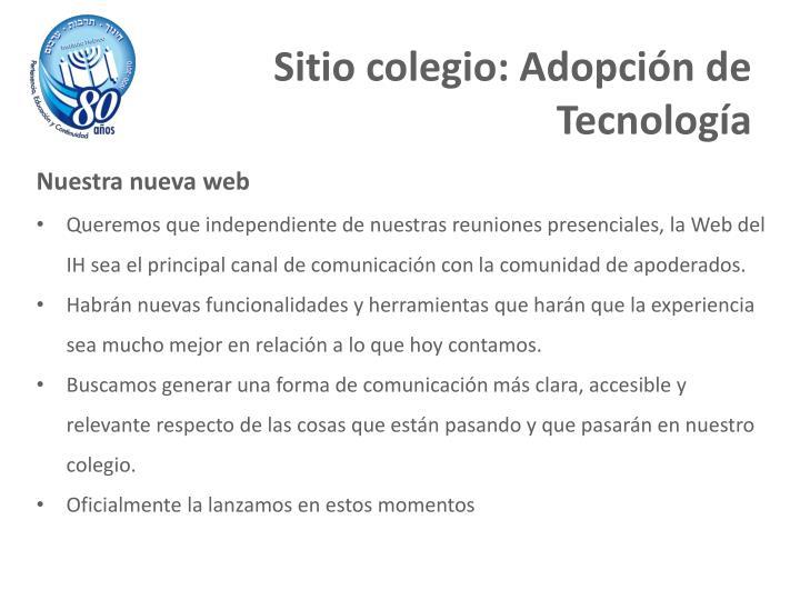 Sitio colegio: Adopción de Tecnología