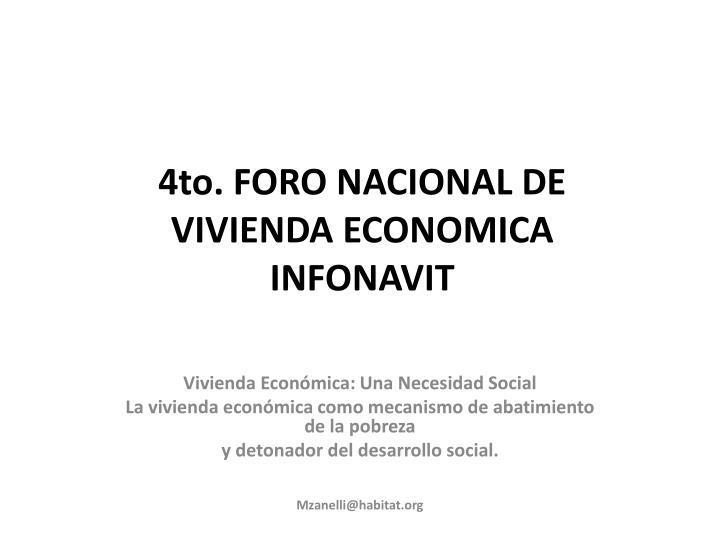 4to. FORO NACIONAL DE