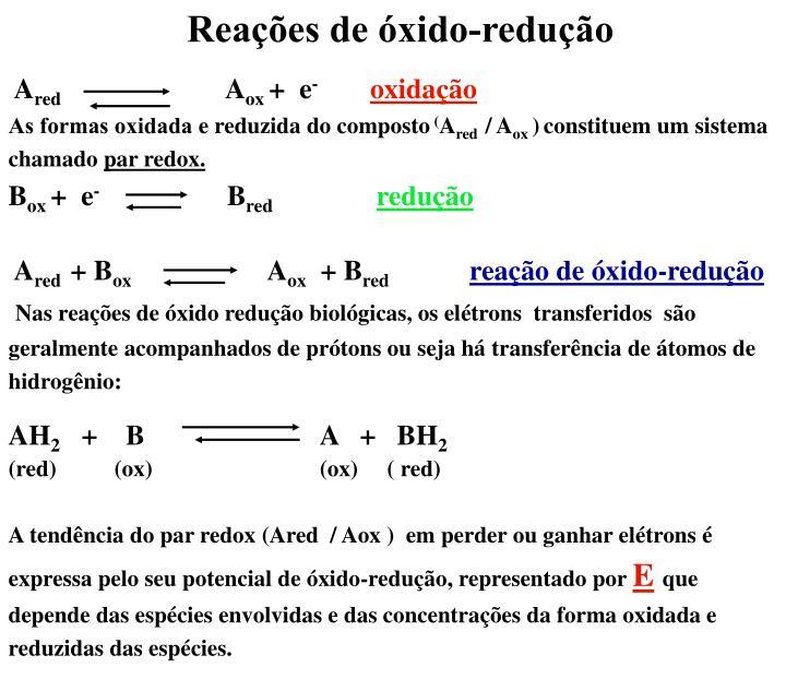 Reações de óxido-redução