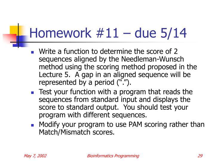 Homework #11 – due 5/14