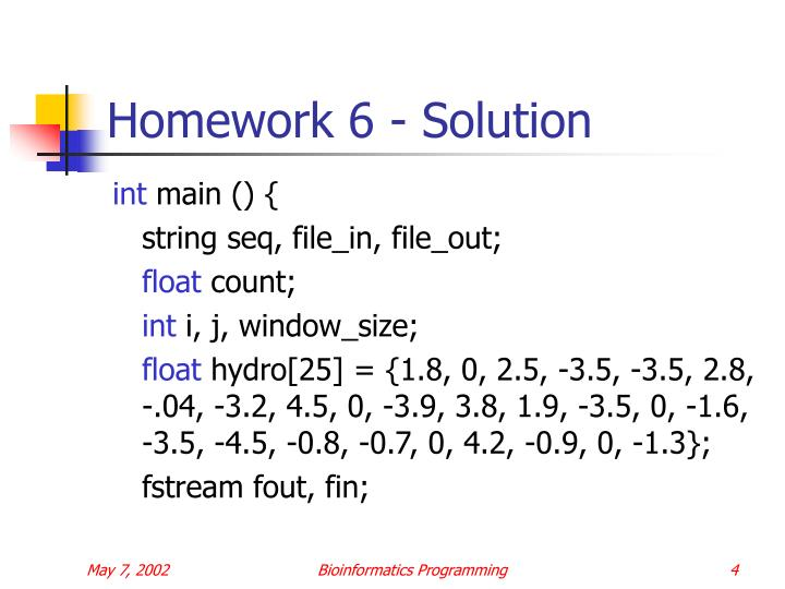 Homework 6 - Solution