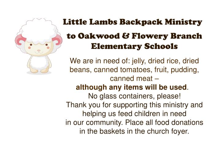 Little Lambs Backpack Ministry
