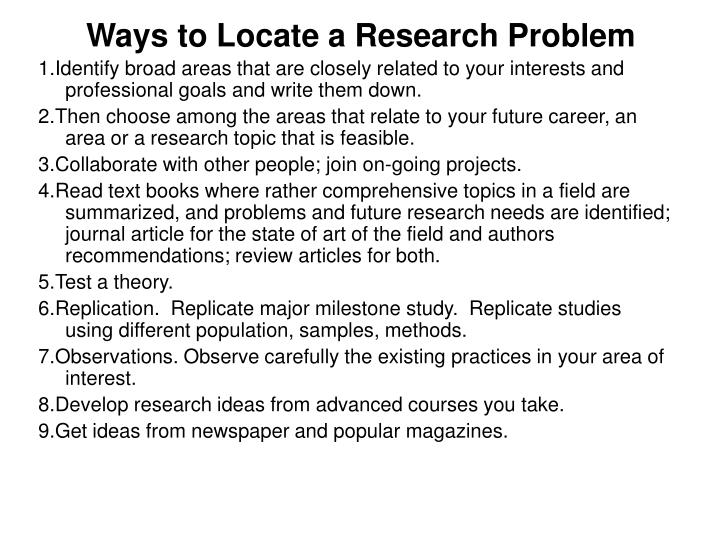 Ways to Locate a Research Problem