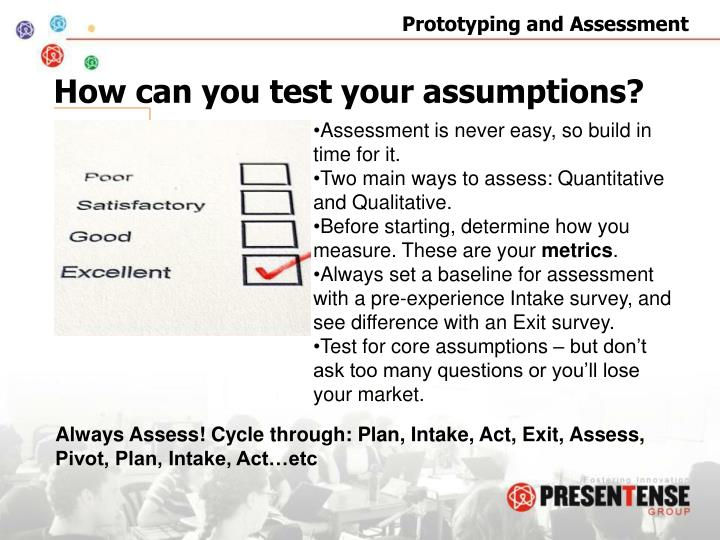 How can you test your assumptions?