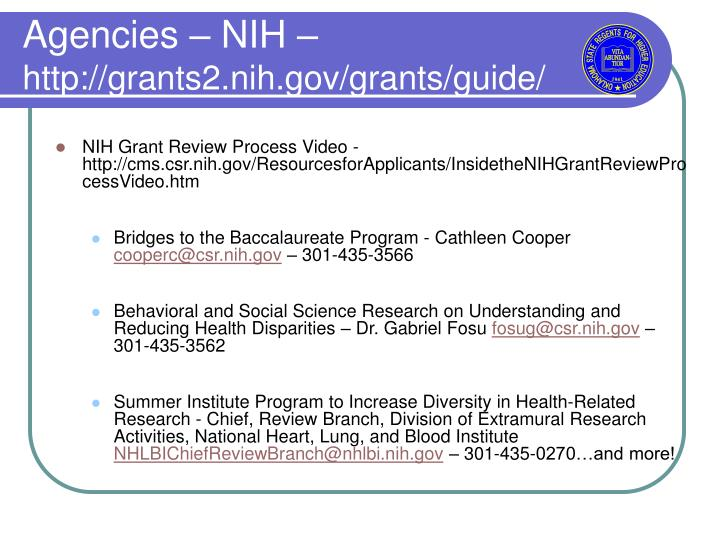 Agencies – NIH –