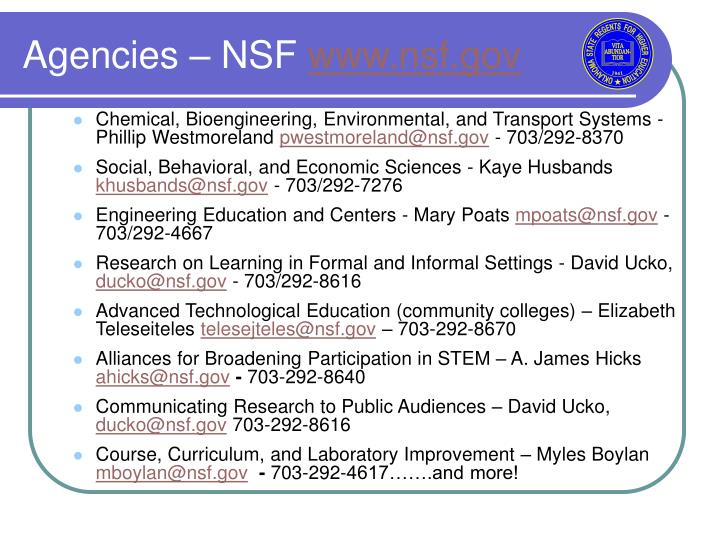 Agencies – NSF