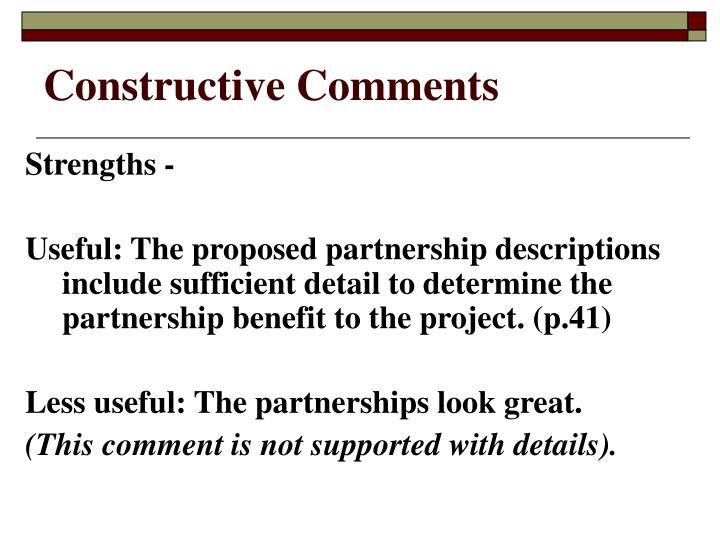 Constructive Comments