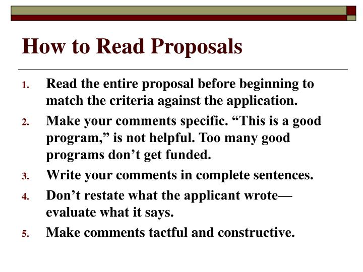How to Read Proposals