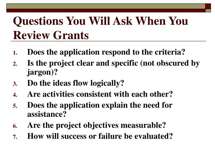 Questions You Will Ask When You Review Grants