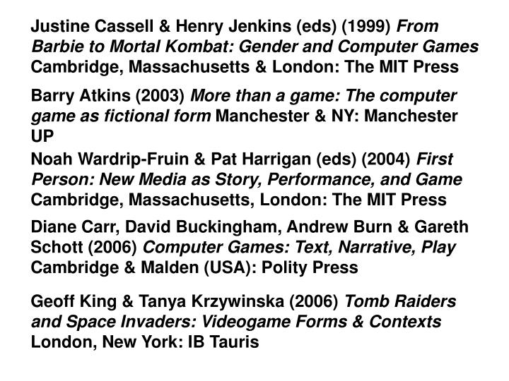 Justine Cassell & Henry Jenkins (eds) (1999)