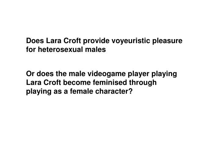Does Lara Croft provide voyeuristic pleasure for heterosexual males