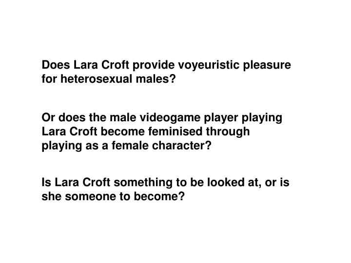 Does Lara Croft provide voyeuristic pleasure for heterosexual males?