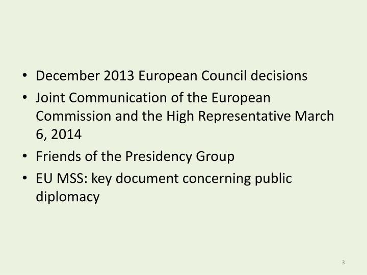 December 2013 European Council decisions