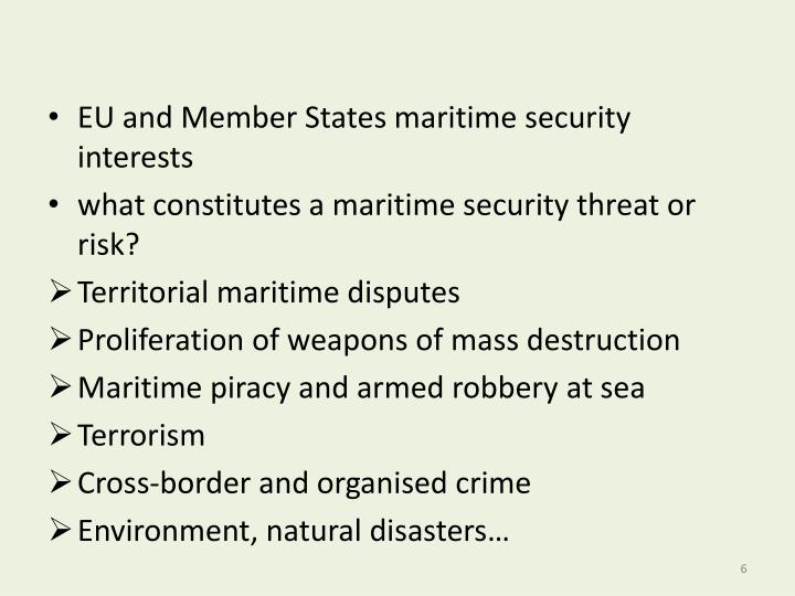 EU and Member States maritime security interests