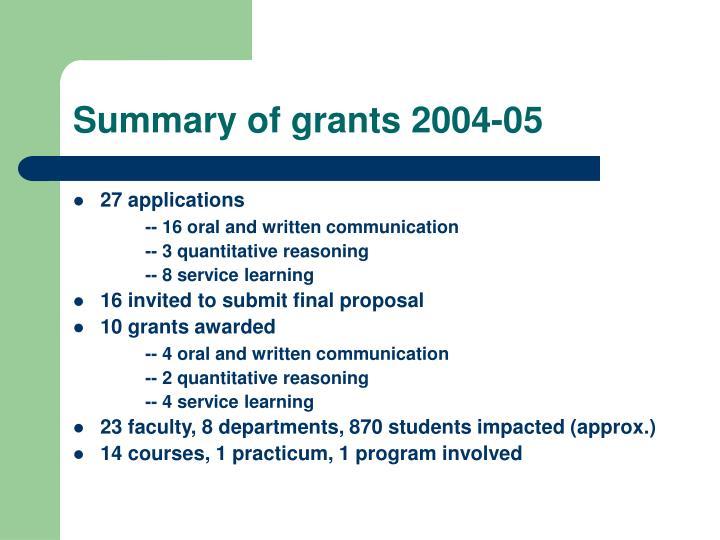 Summary of grants 2004-05