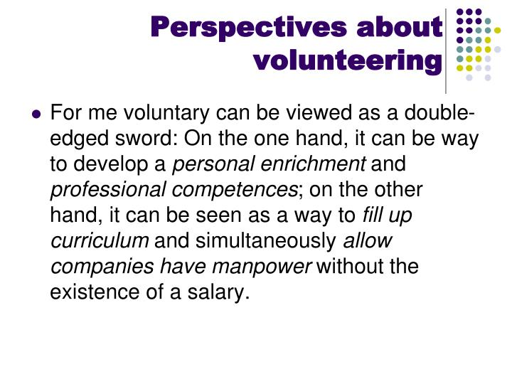 Perspectives about volunteering