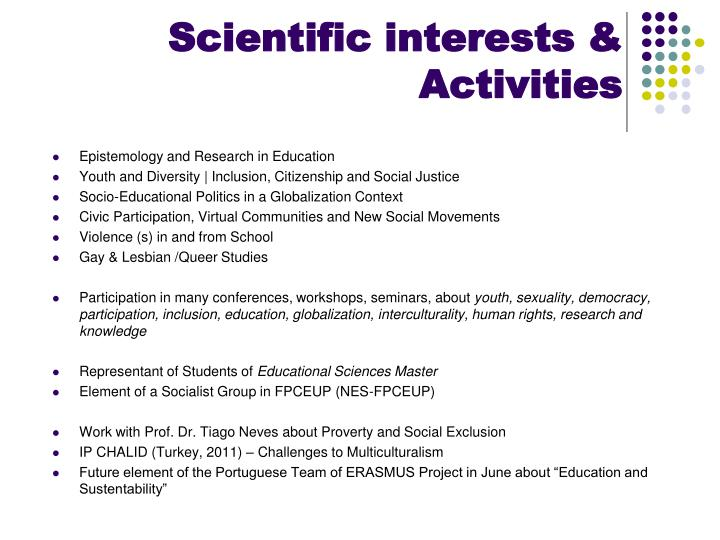 Scientific interests activities