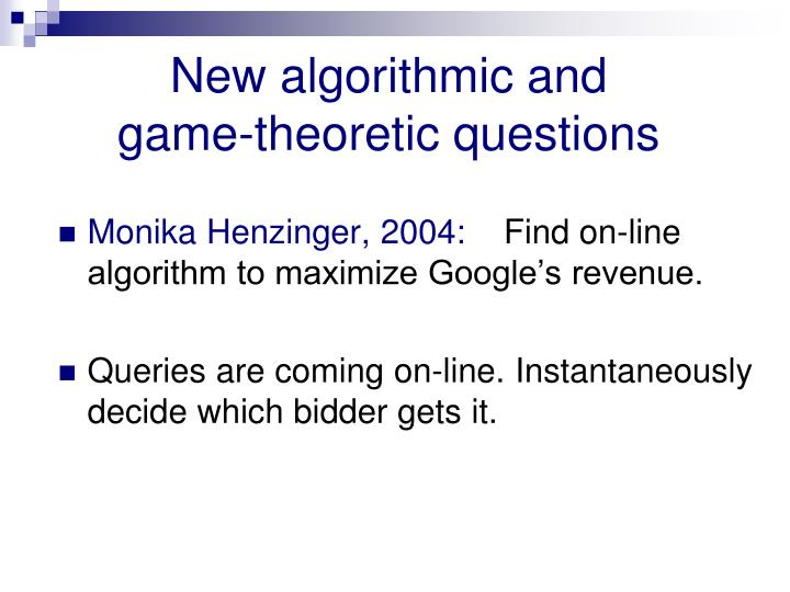 New algorithmic and