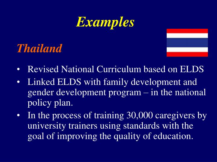 Revised National Curriculum based on ELDS
