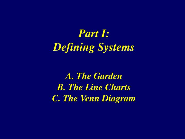 Part i defining systems a the garden b the line charts c the venn diagram