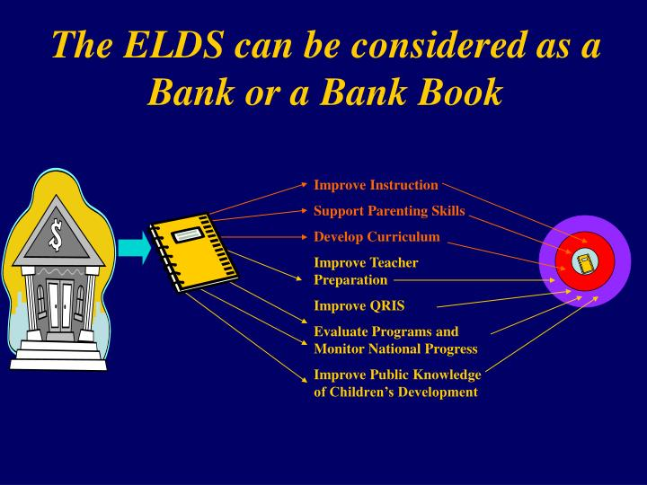 The ELDS can be considered as a Bank or a Bank Book