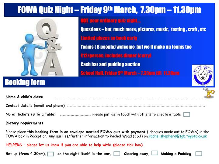 Fowa quiz night friday 9 th march 7 30pm 11 30pm