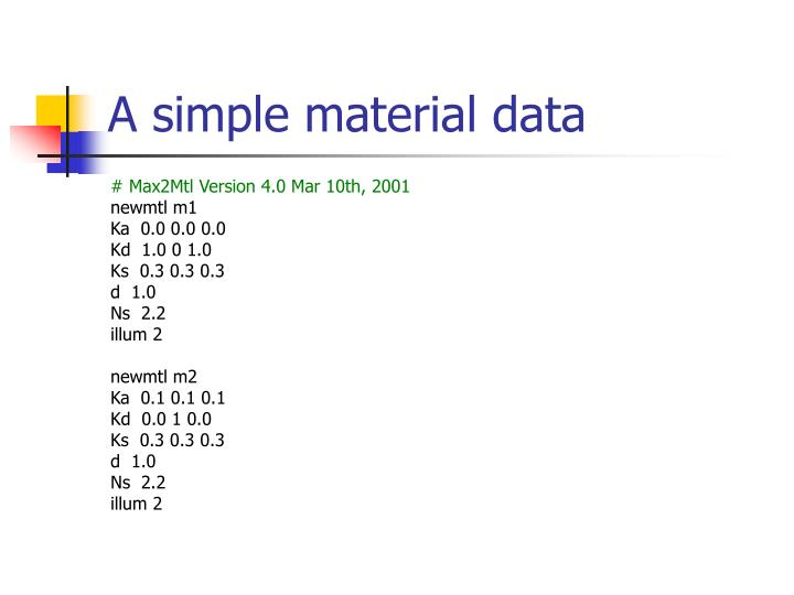 A simple material data
