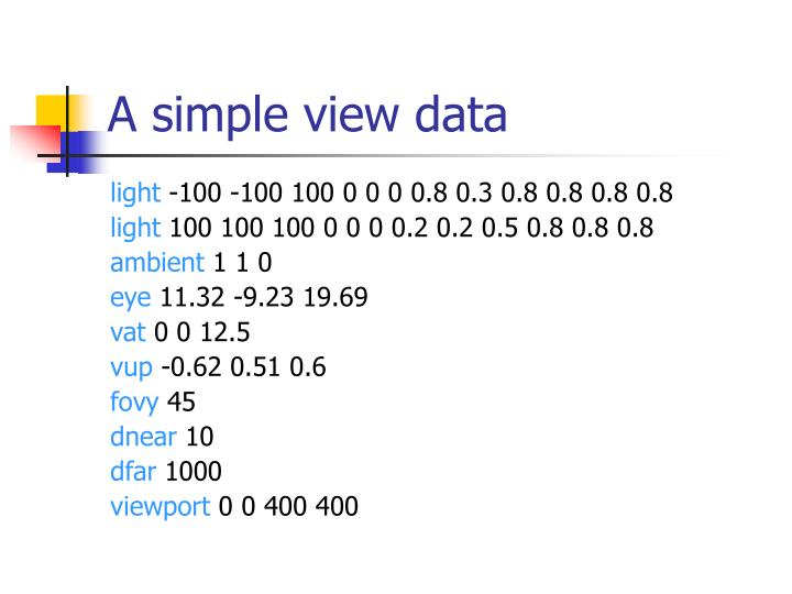 A simple view data